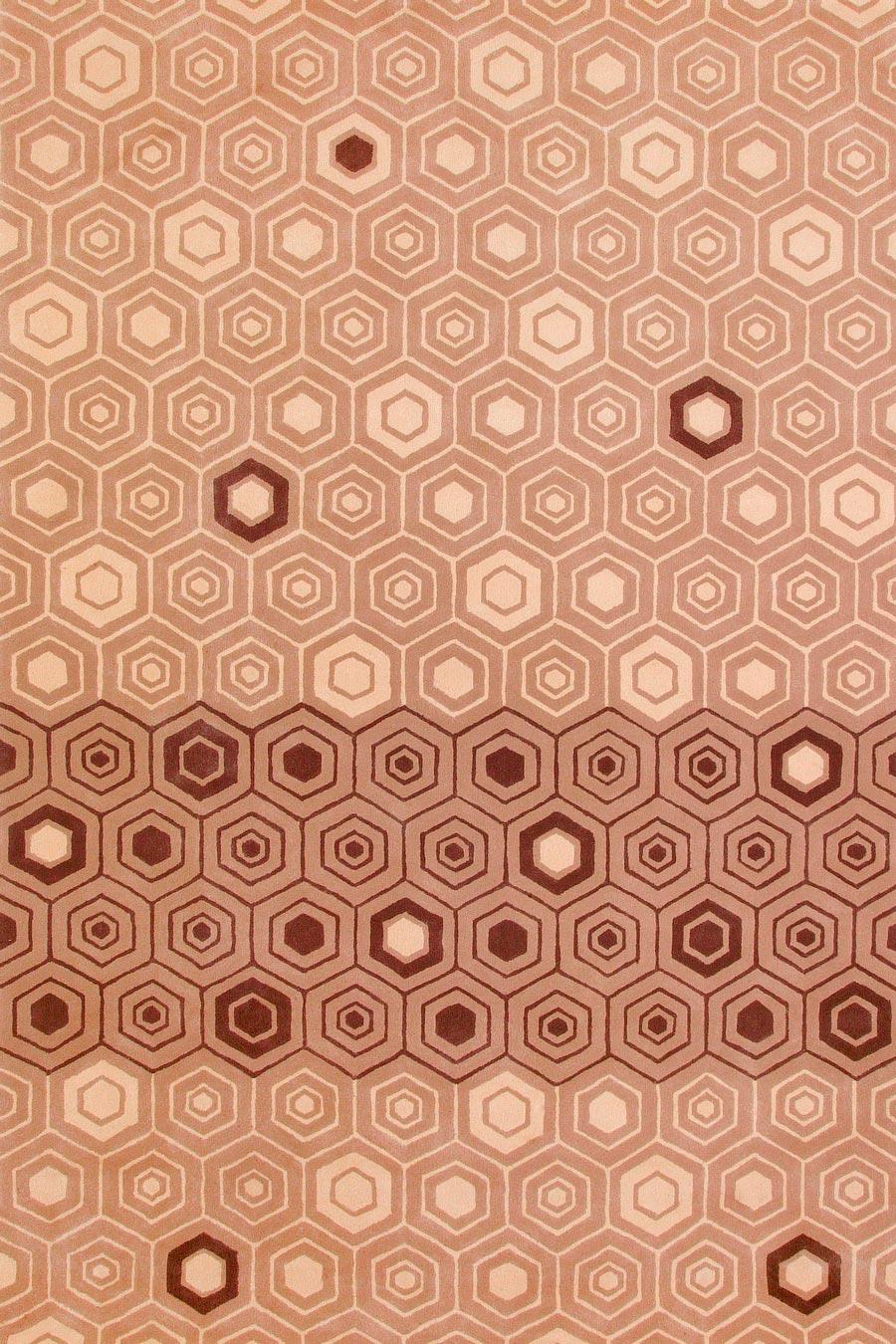 overhead of nishijin 3 rug by akira in beige geometric hexagon pattern
