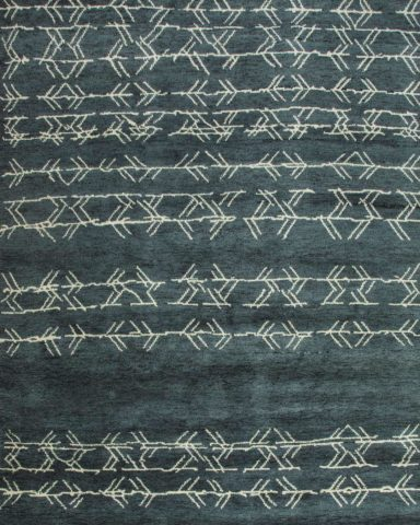 overhead of fehu rug by anna carin in blue with white lines