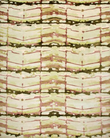 overhead of fence rug by anna carin in abstract mirrored pattern beige background
