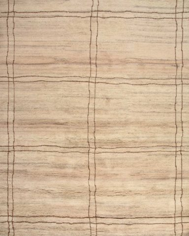 overhead of isa rug by anna carin in beige with brown lines
