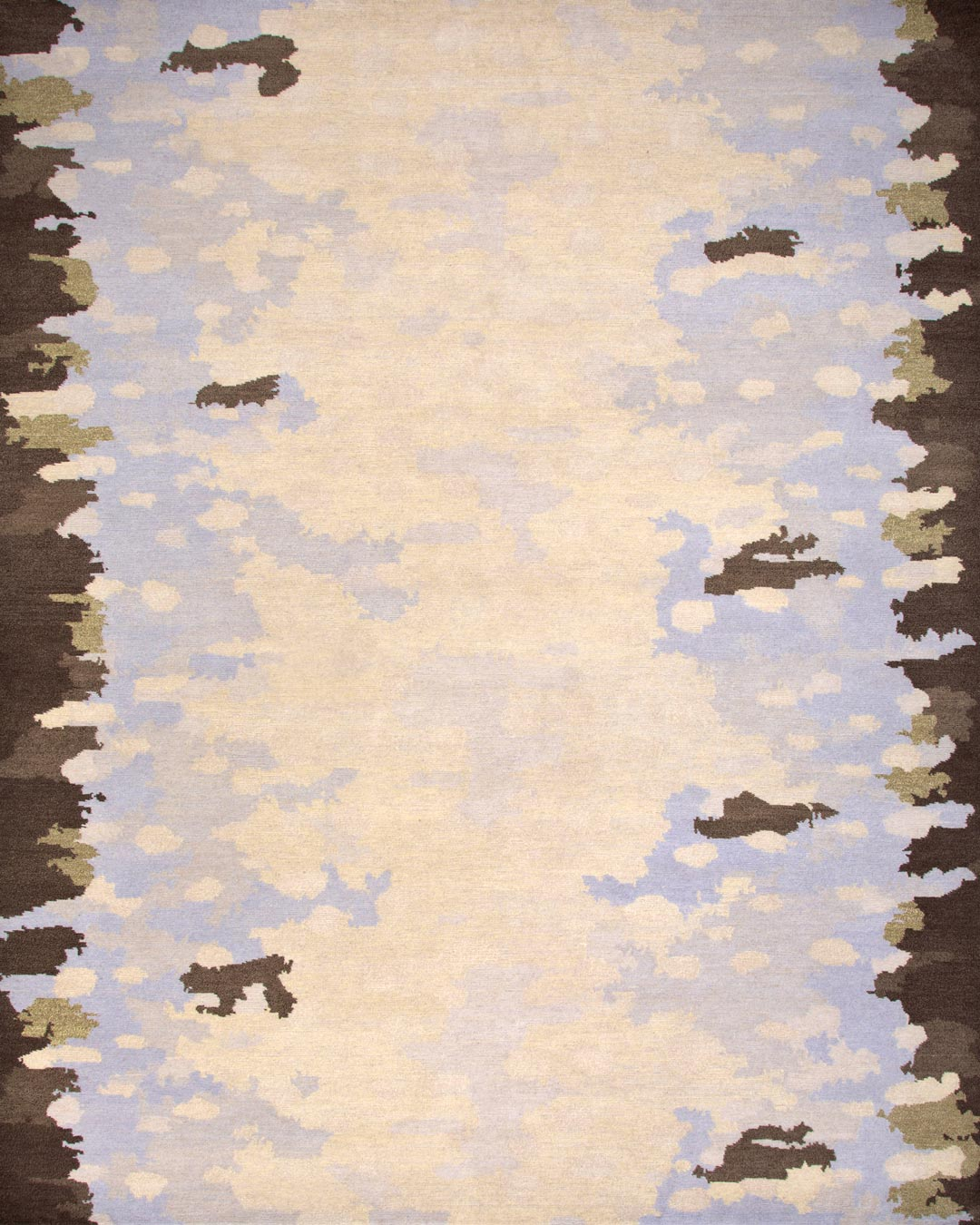 overhead of pike rug by anna carin in beige and brown organic pattern