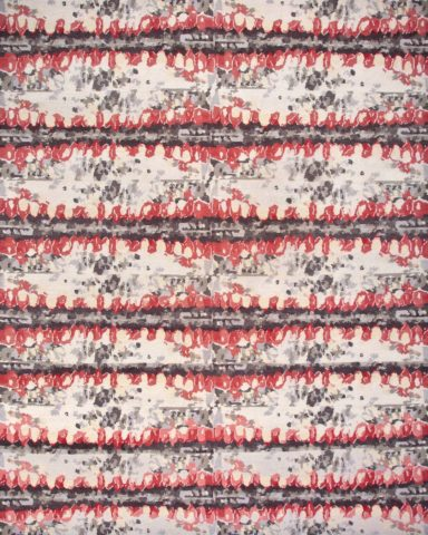 overhead of wild berry rug by anna carin in red and brown organic pattern
