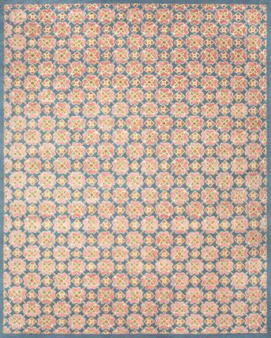 overhead of flora rug by anna spiro in floral repeat pattern with a blue border