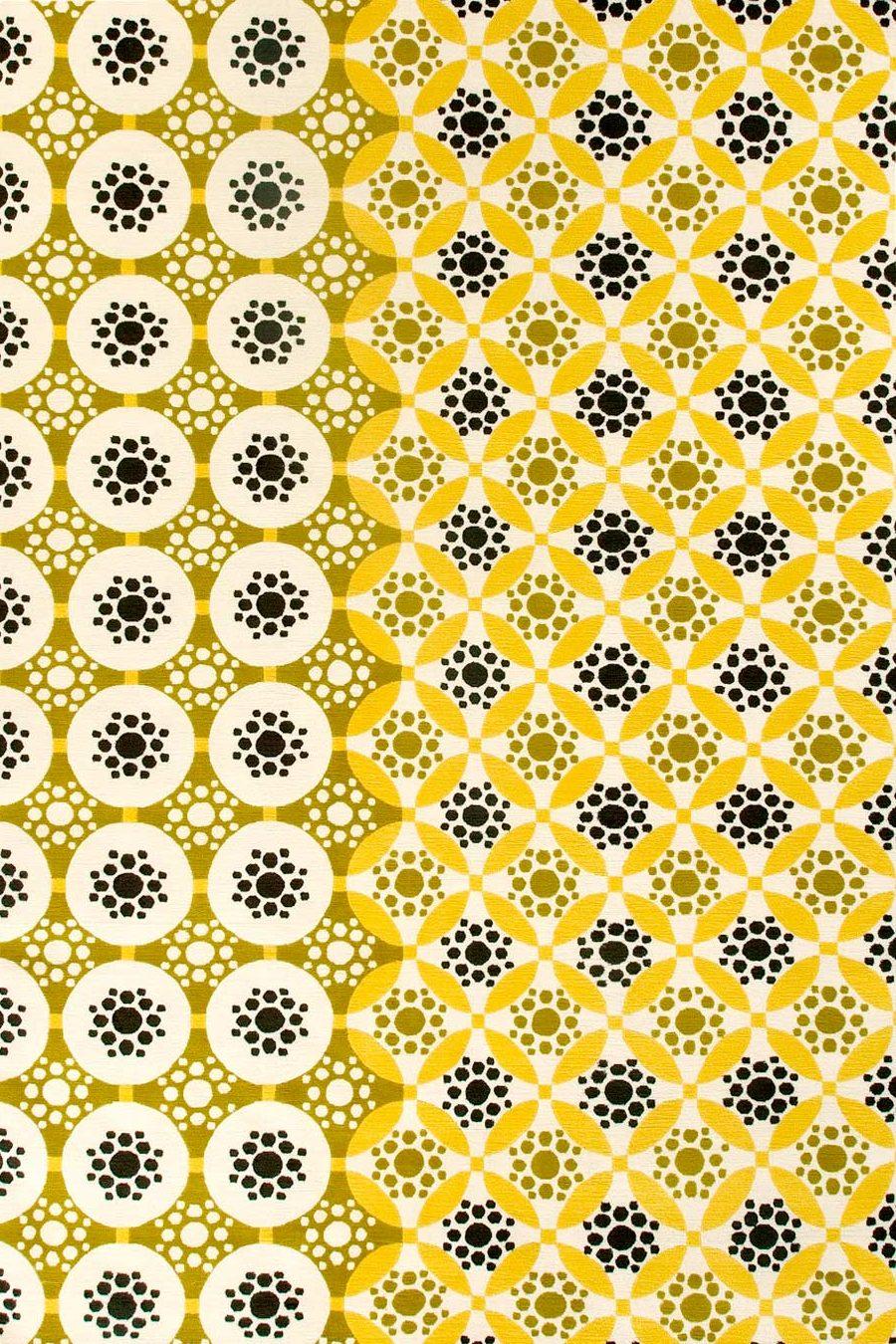 overhead of applique rug by bernabeifreeman in yellow circular pattern