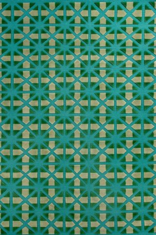 overhead of bias rug by bernabeifreeman in blue and green repeat geometric pattern