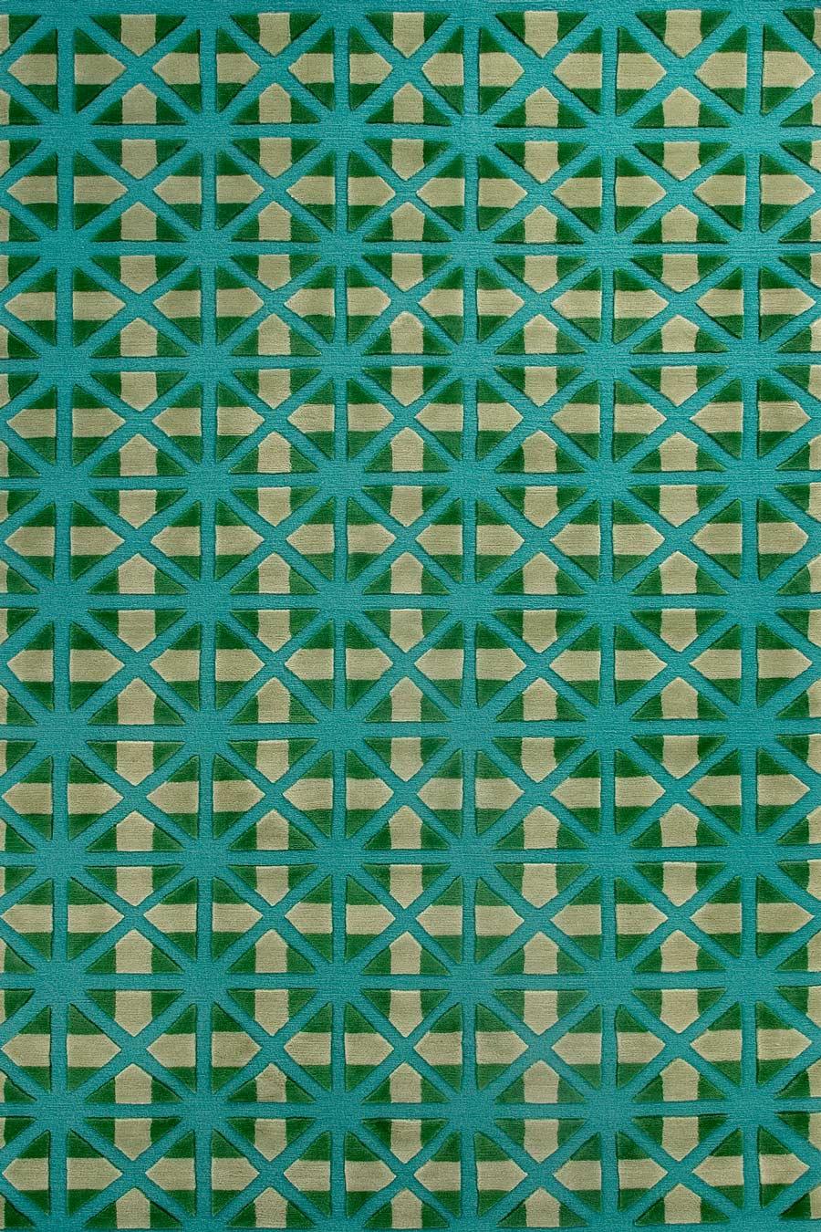 overhead of bias rug by bernabeifreeman in blue and green repeat geometric pattern