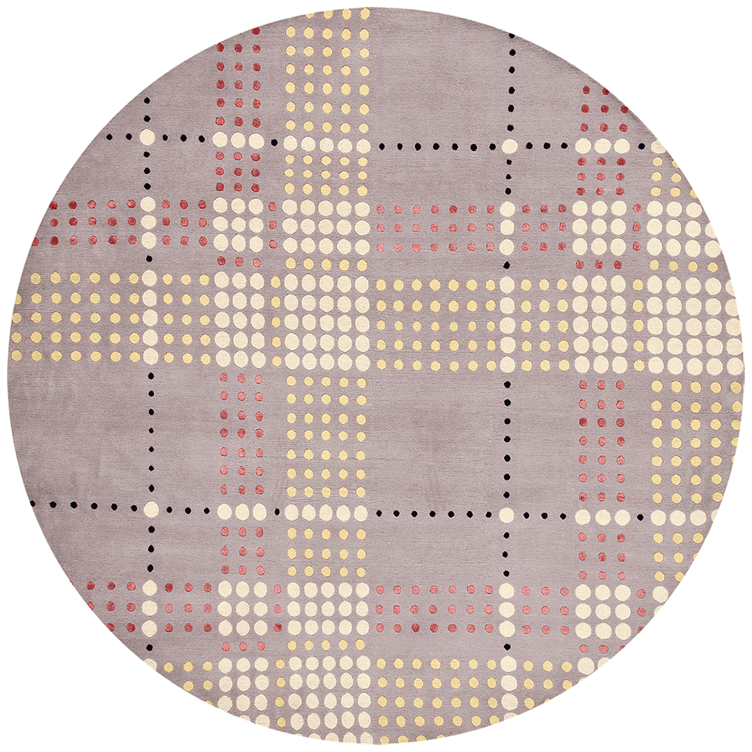 overhead of checkered rug by bernabeifreeman in dot pattern with lilac background