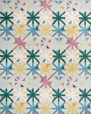 overhead of criss cross rug by bernabeifreeman in multicoloured star pattern
