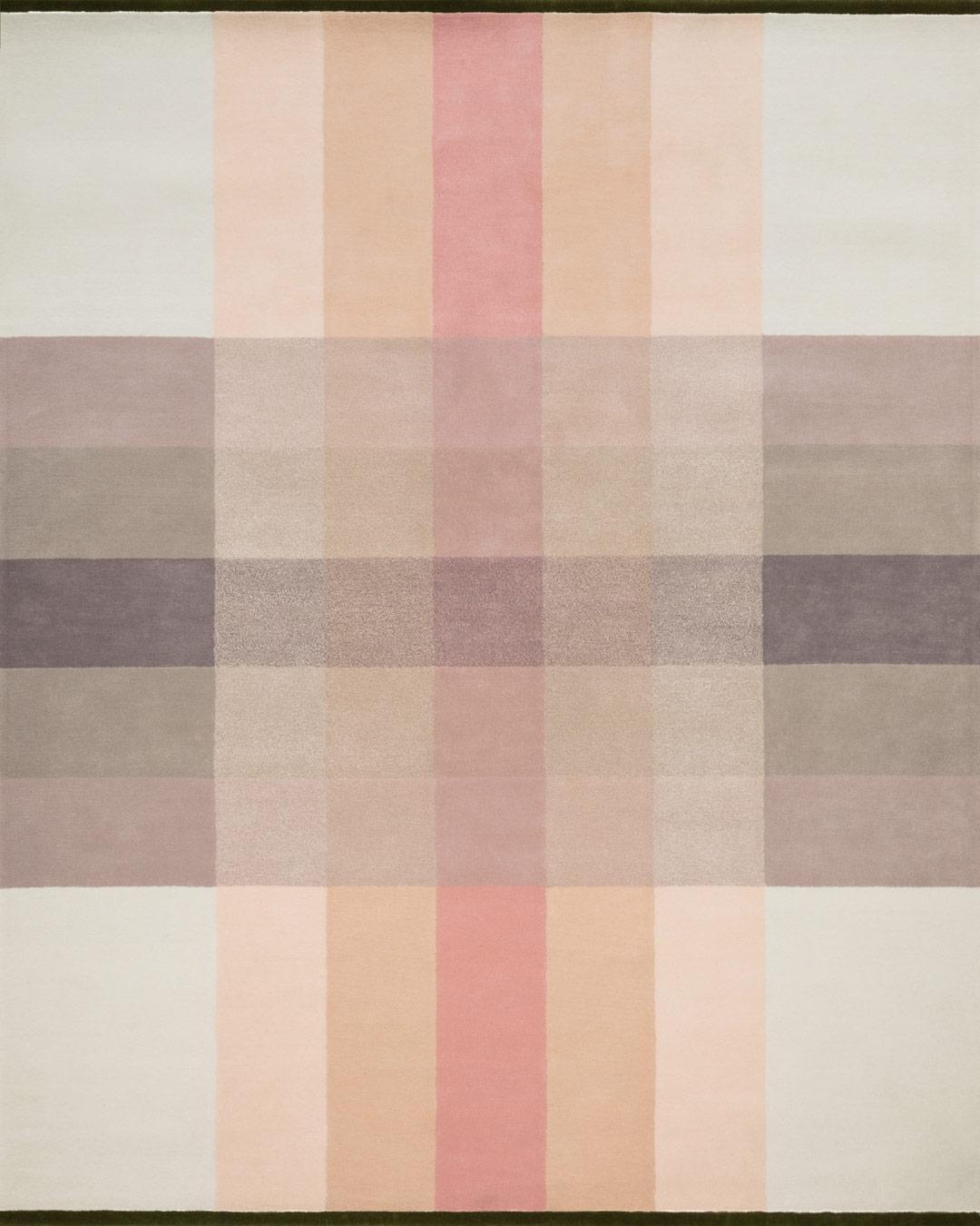 overhead of crossing rug by bernabeifreeman in large checkered pattern in pale pink beige and brown