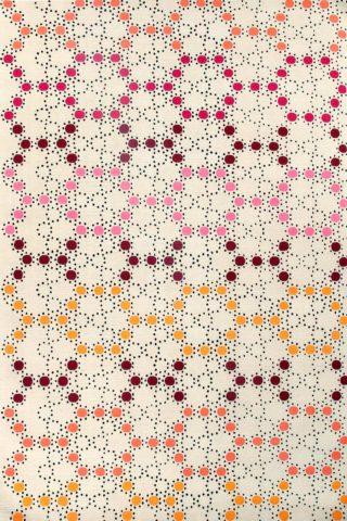 overhead of mosaic rug by bernabeifreeman in multicoloured dot pattern