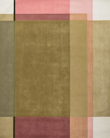 overhead of spring rug by bernabeifreeman green and pink colour block