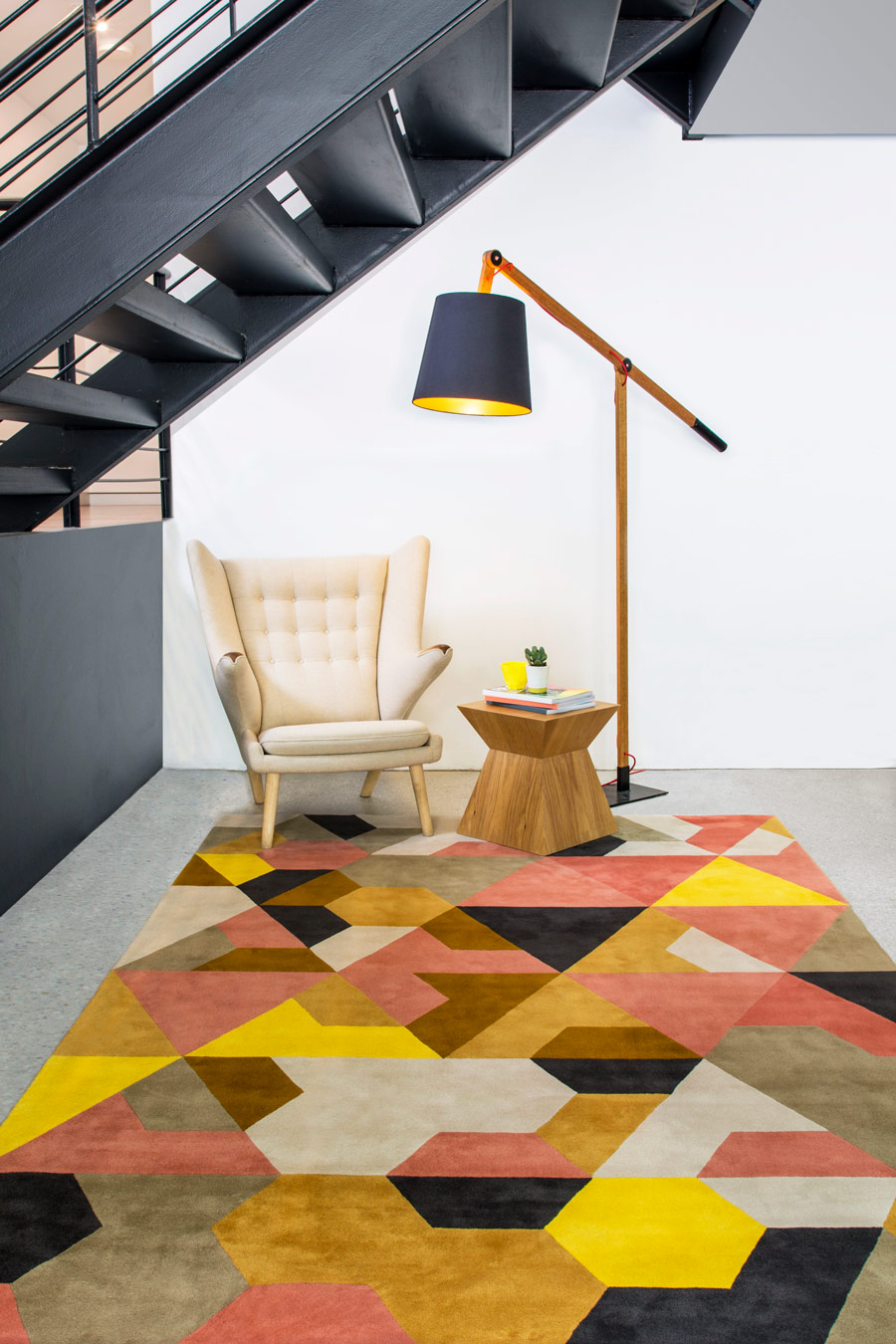 location shot of berlin rug by bleux in multi geometric pattern