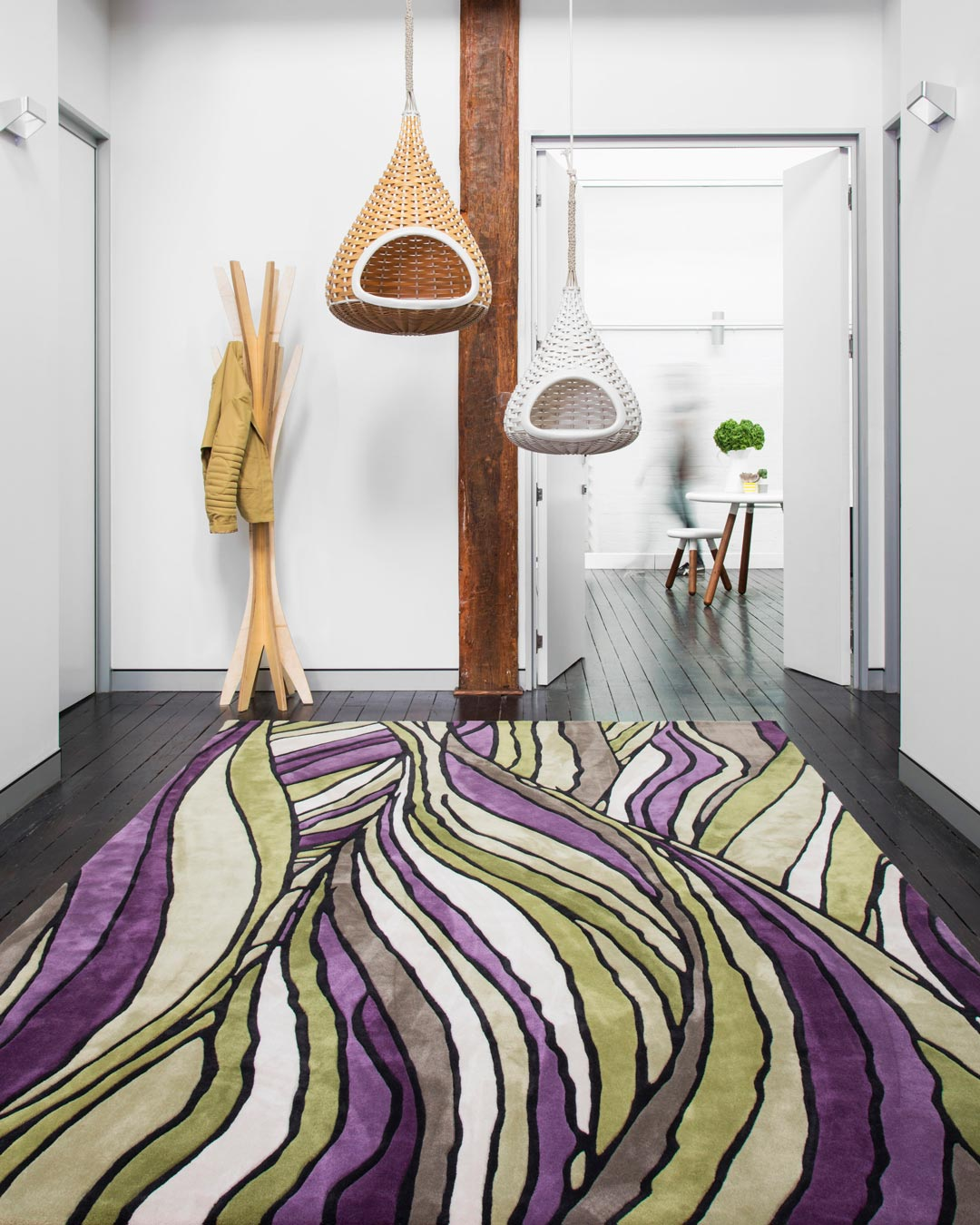 location of faraway rug by bleux in organic green and purple pattern