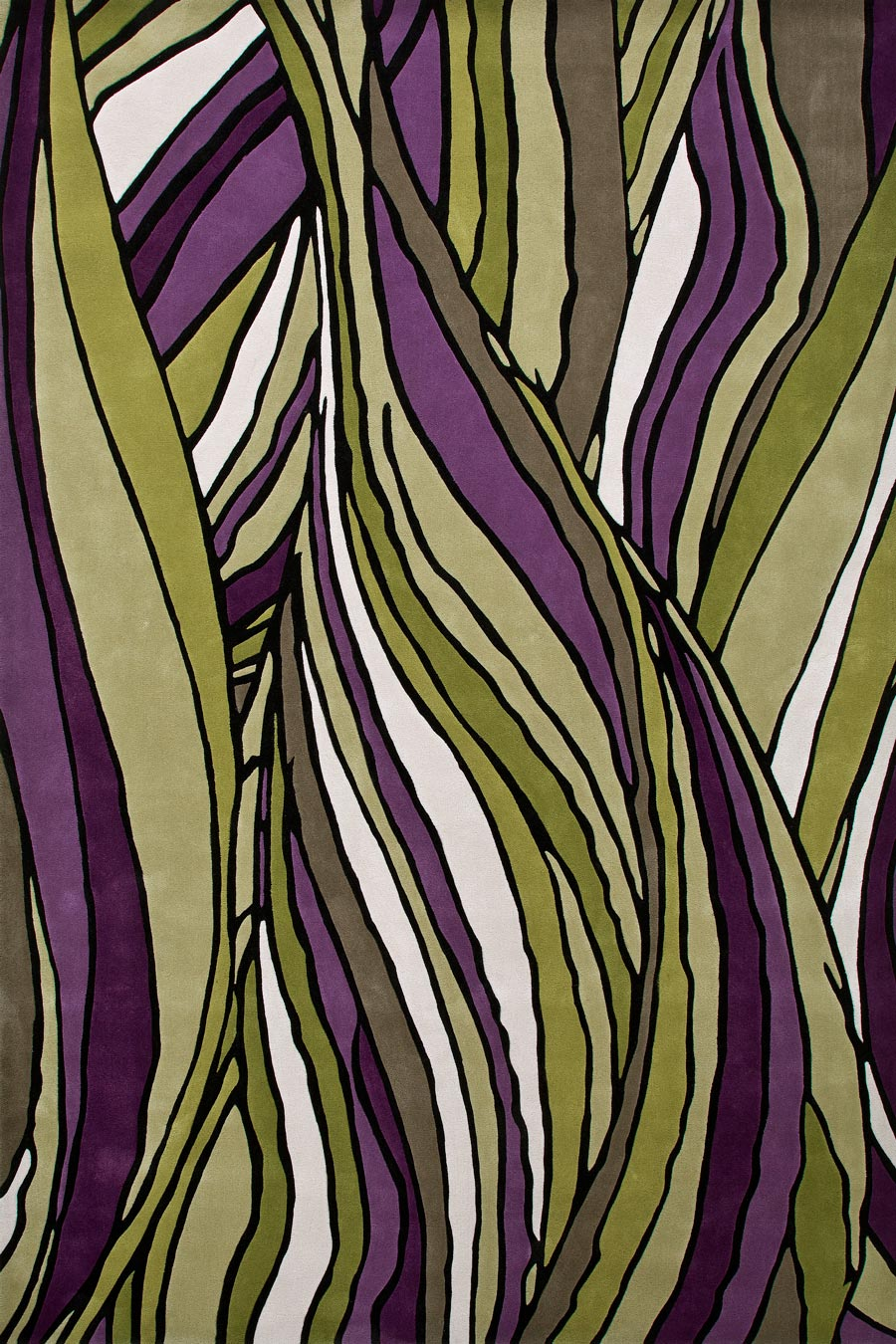 overhead of faraway rug by bleux in organic green and purple pattern