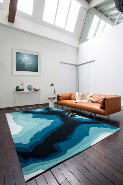 location living room shot of mineral rug by bleux in organic blue pattern