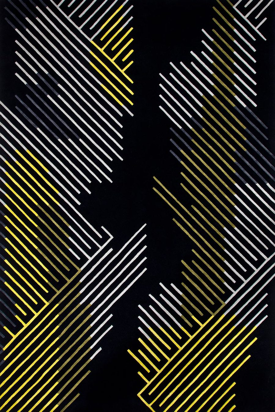overhead of minotu rug by bleux in multi linear pattern black background