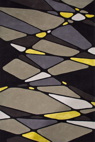 overhead of vena cava rug by bleux in grey yellow geometric pattern