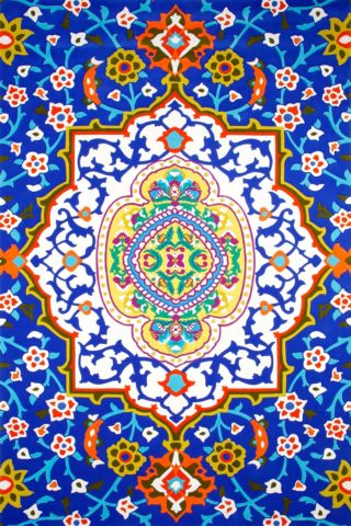 overhead of formentera rug by camilla blue background symmetrical floral