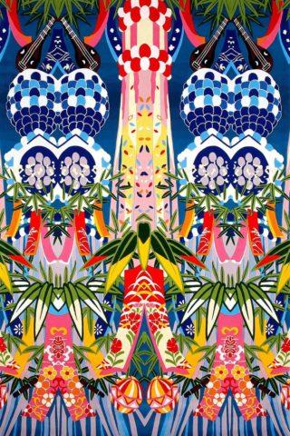 overhead of island sond rug by camilla multicoloured tribal