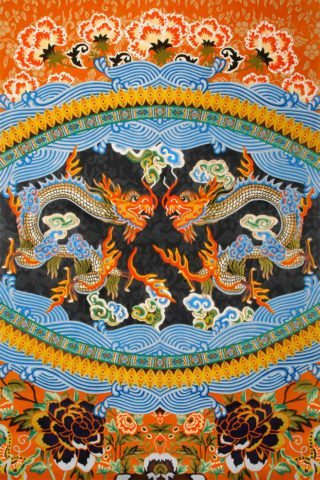 overhead of tang rug by camilla oriental dragon