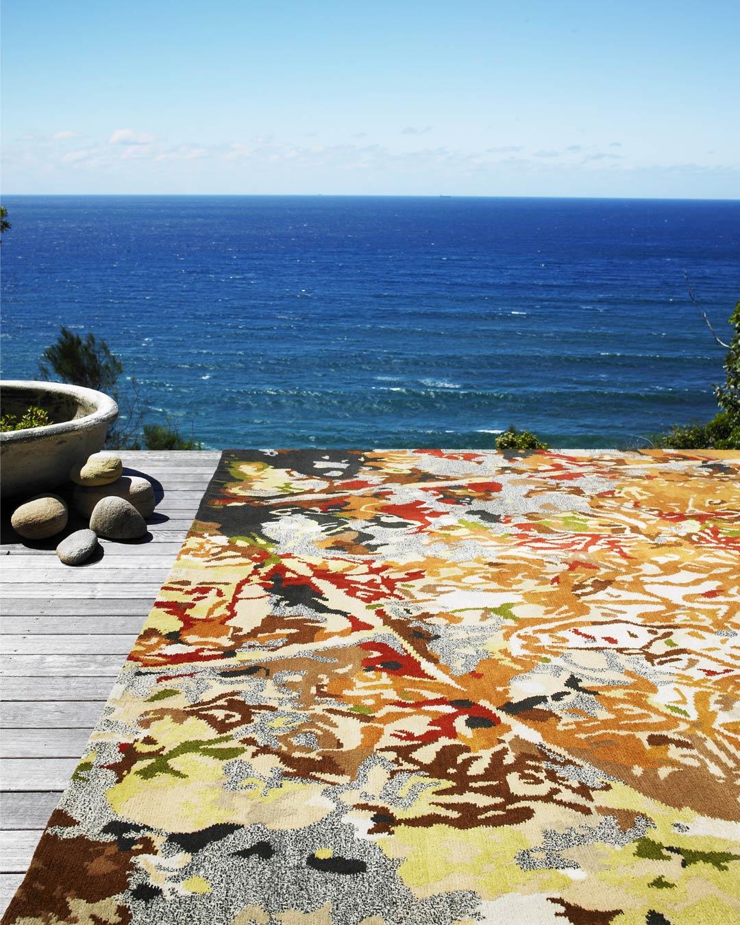 location shot of orange tessellation rug by caroline baum