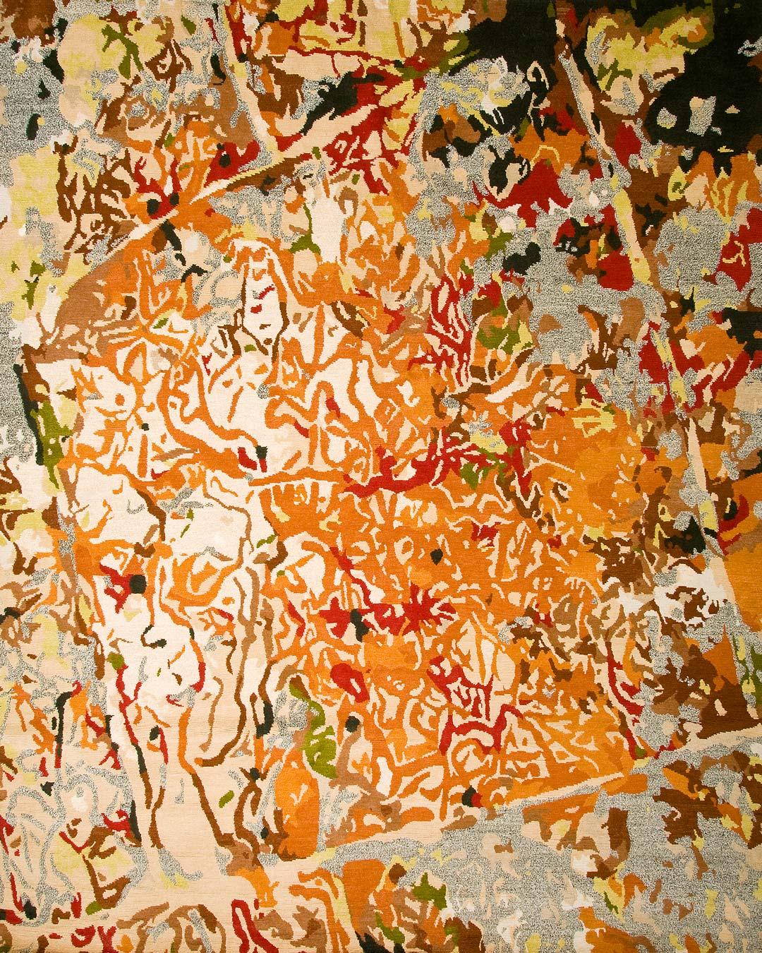 overhead of orange tessellation rug by caroline baum