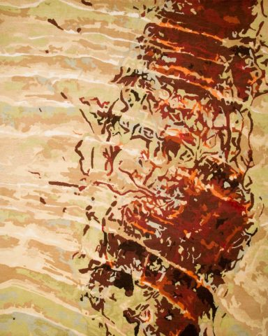 overhead of red ripple rug by caroline baum