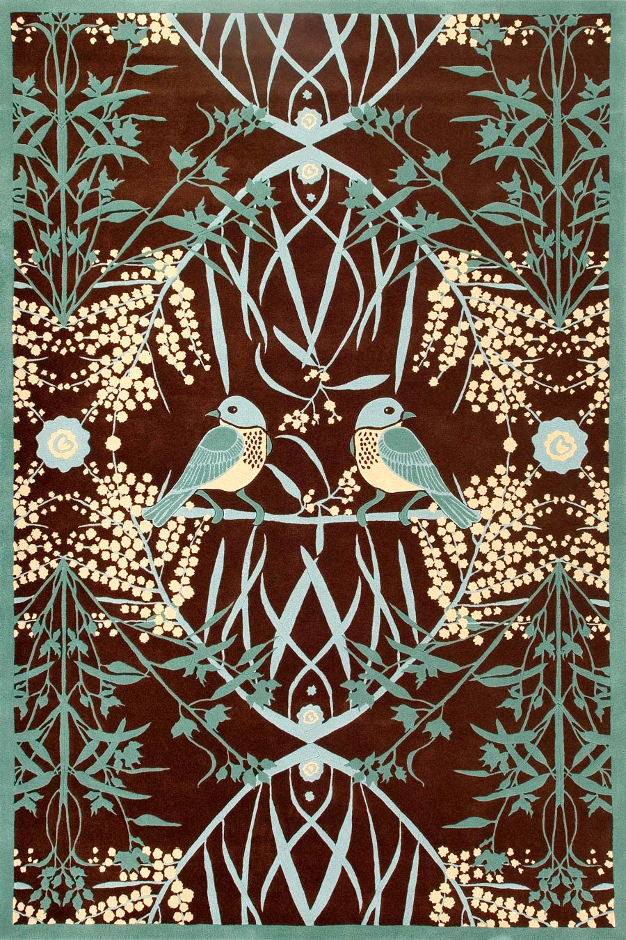 overhead of acacia rug by catherine martin teal bird print on brown background