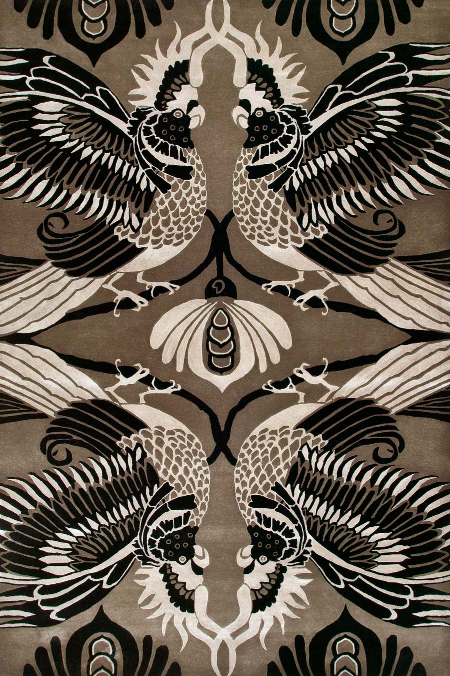 overhead of cockatoo rug by catherine martin brown