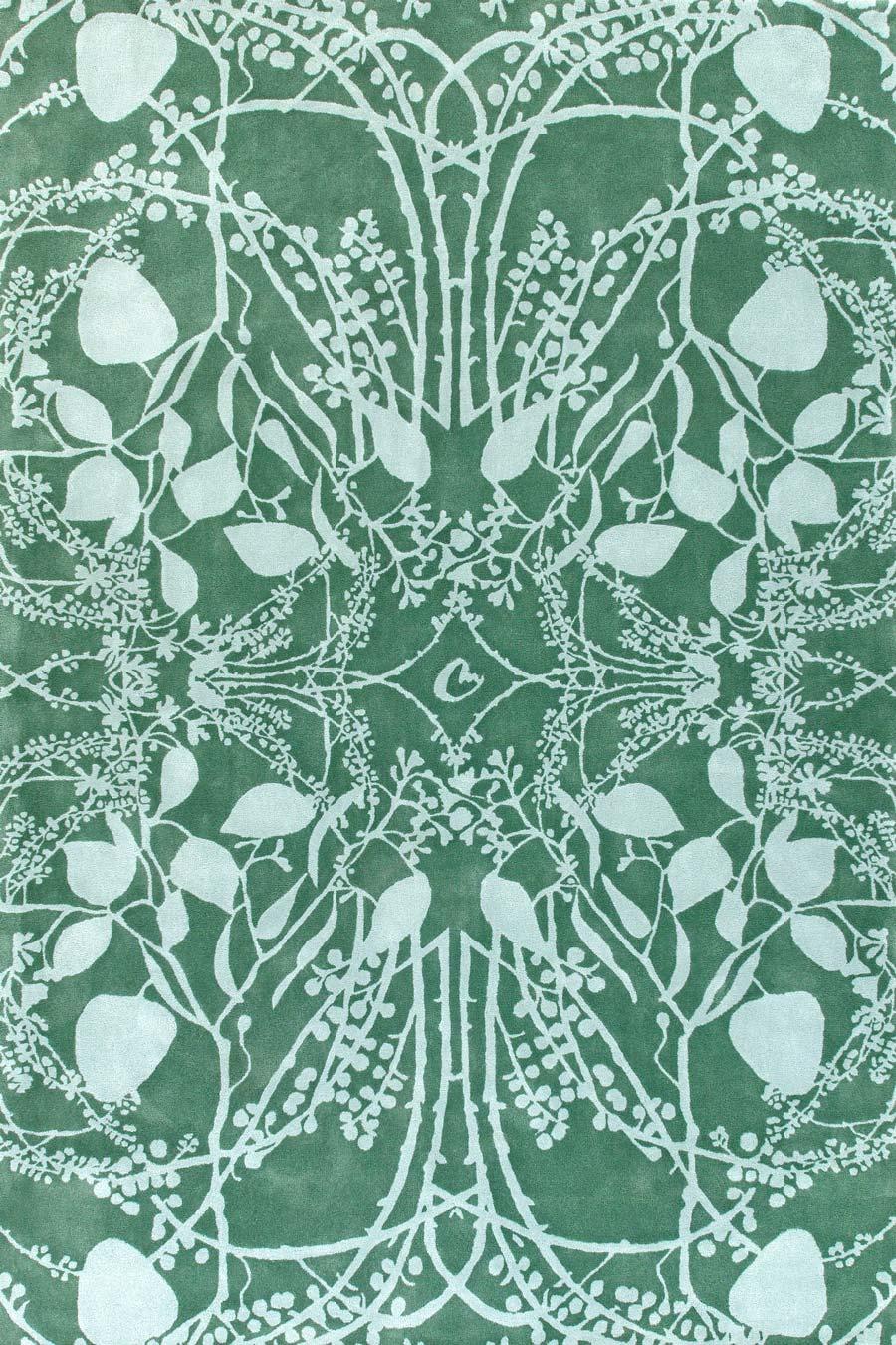 overhead of eucalyptus rug by catherine martin green