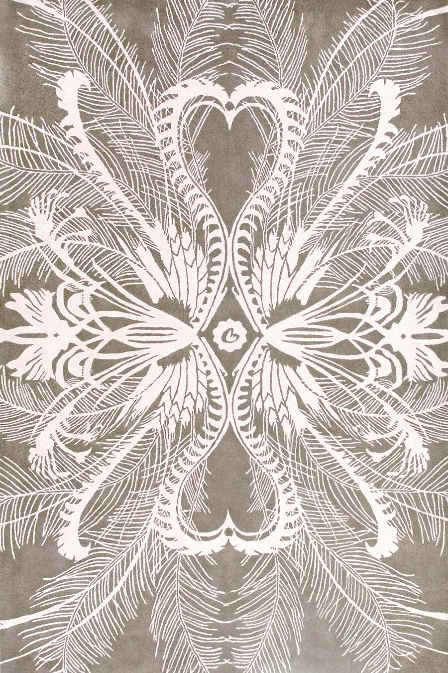 overhead of feathers rug by catherine martin