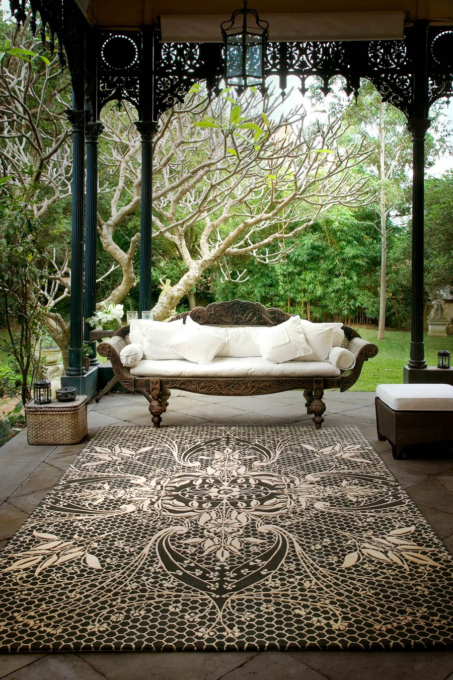 location shot of lace rug by catherine martin