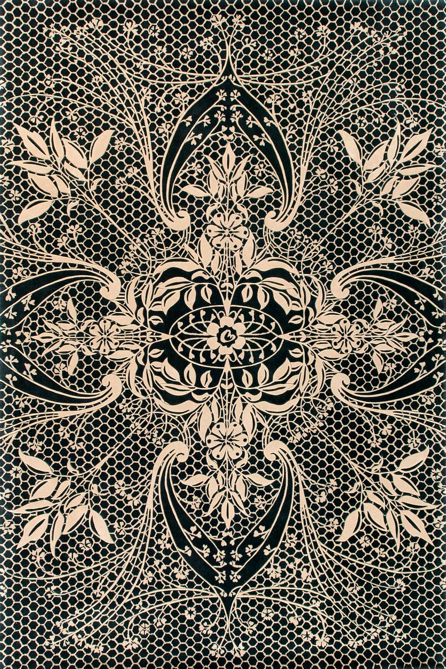 overhead of lace rug by catherine martin