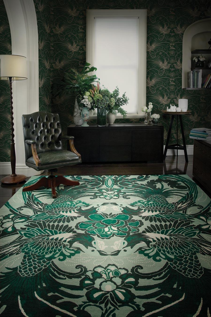 location shot of night bird rug by catherine martin green bird print