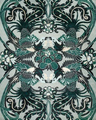 overhead of night bird rug by catherine martin green bird pattern