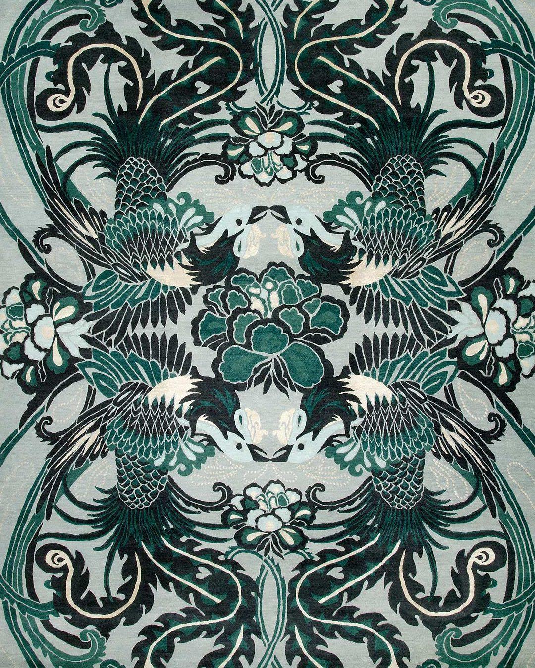 overhead of night bird rug by catherine martin green bird pattern
