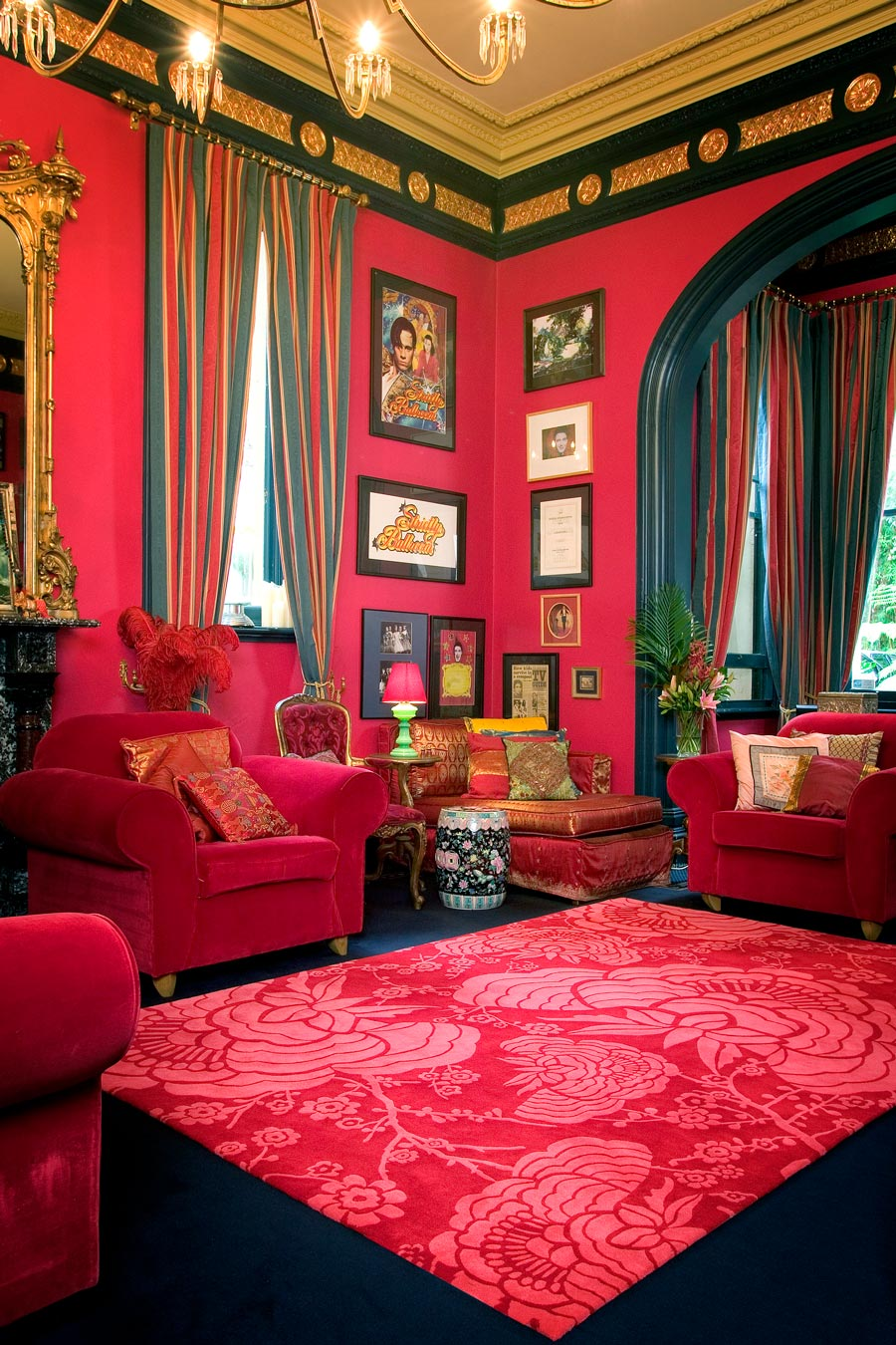 location living room shot of peony rug by catherine martin red floral pattern