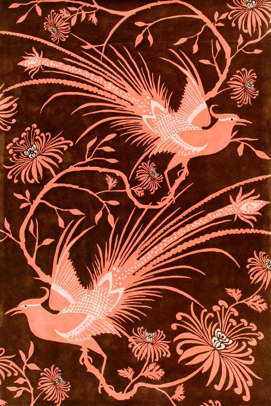 overhead of pheasant rug by catherine martin bird print