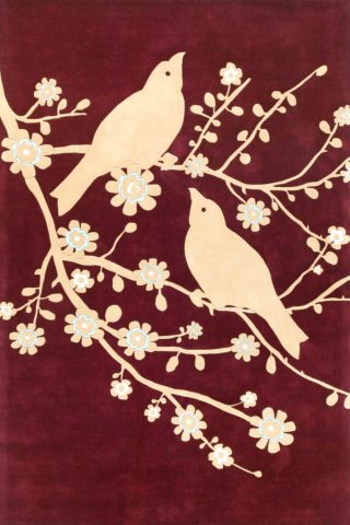 overhead of sparrow rug by catherine martin beige bird print on burgundy background