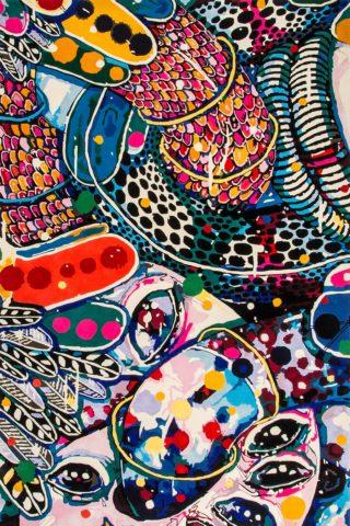 overhead of code fluff rug by del kathryn barton