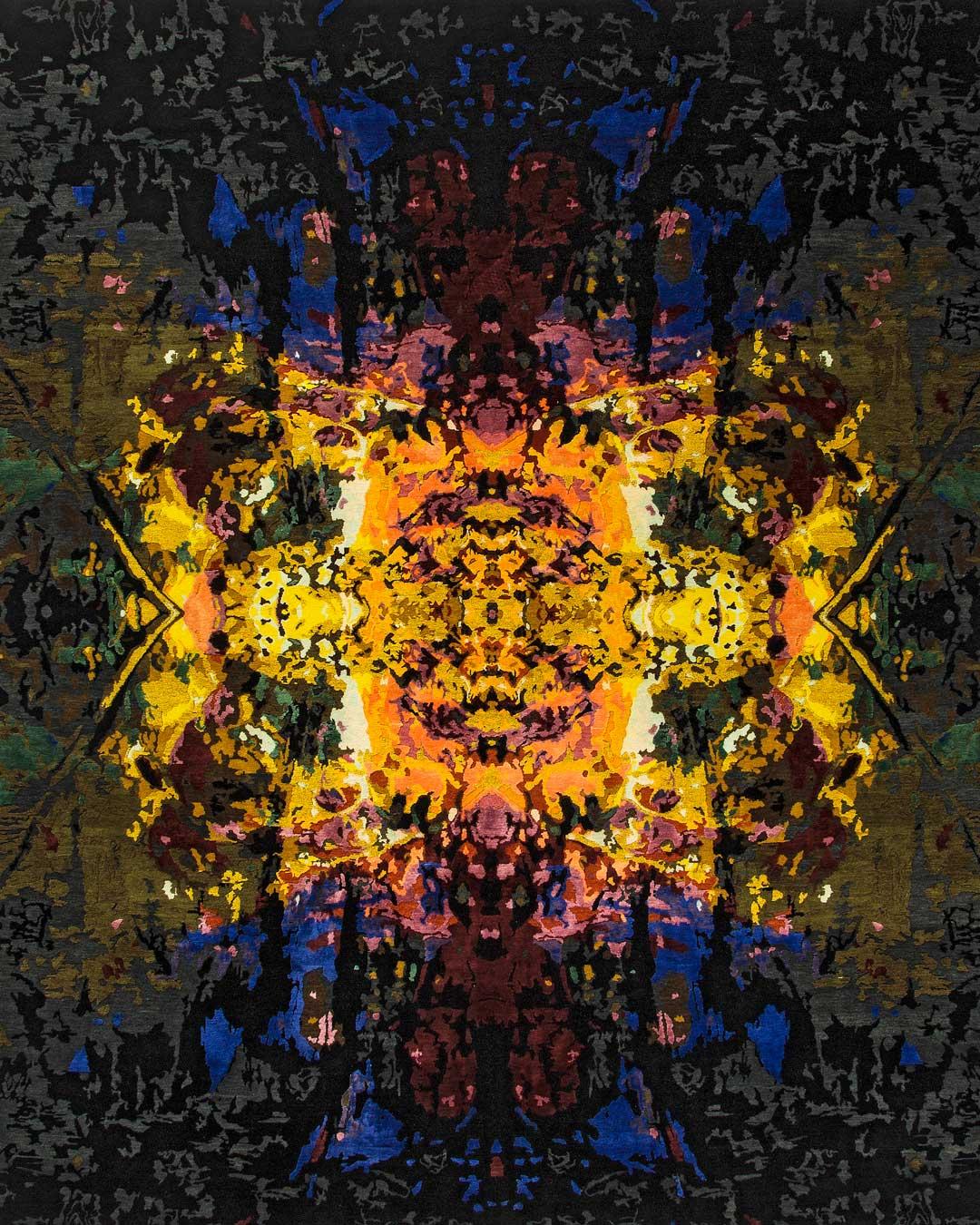 overhead of illuminated garden rug by derryn tal