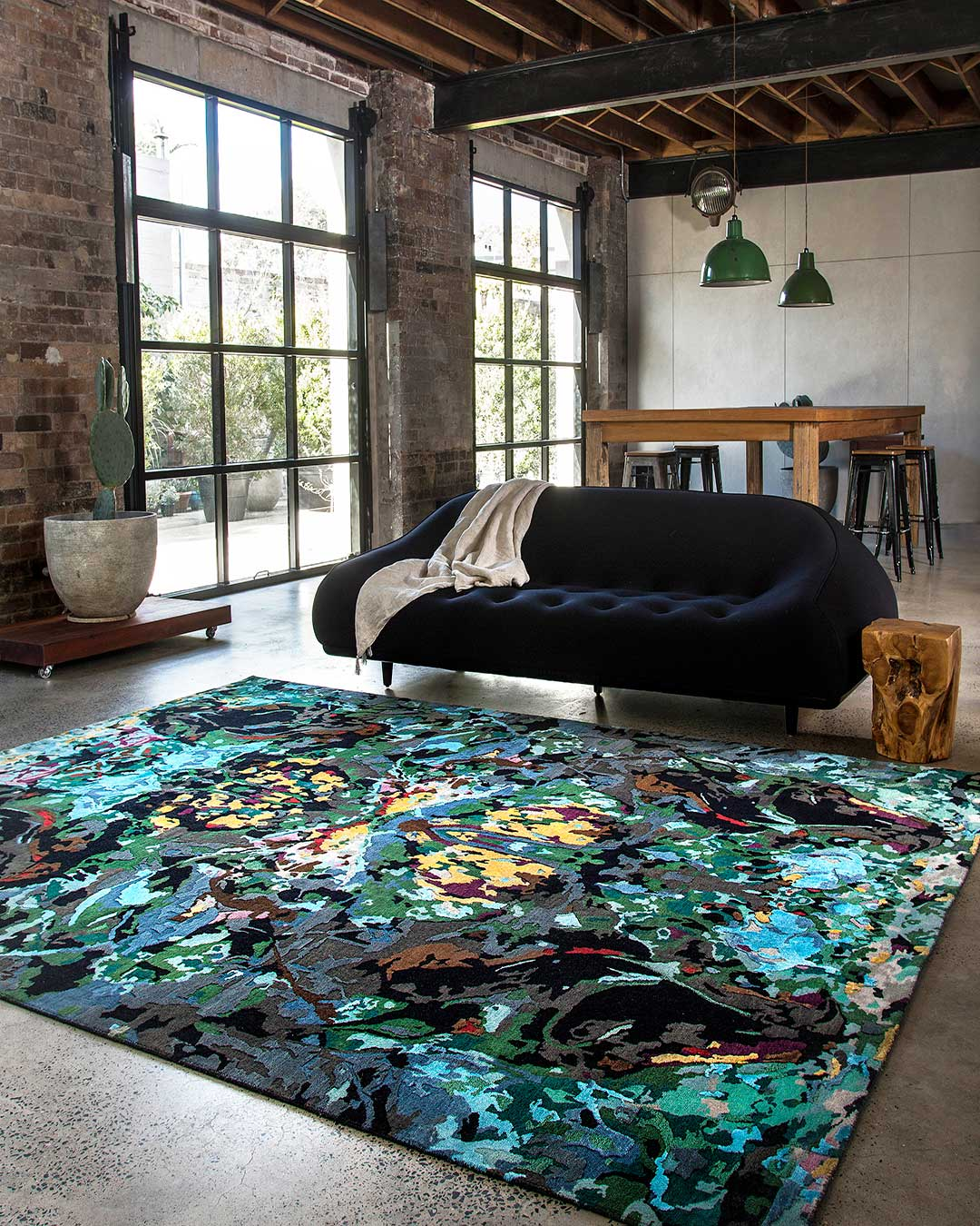 location living room shot of opal oasis rug by derryn tal