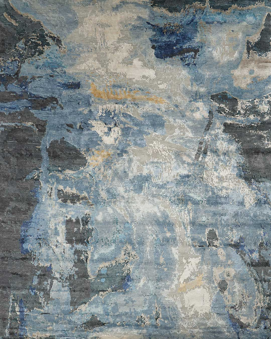 Overhead image of blue handknot Salacia's Spring rug by Derry Tal