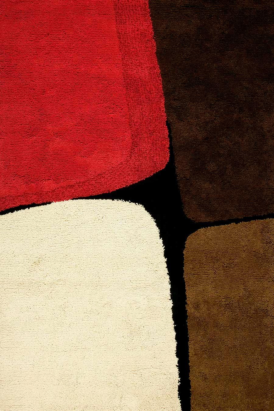 overhead of boulder 1 rug by dinosaur designs red brown