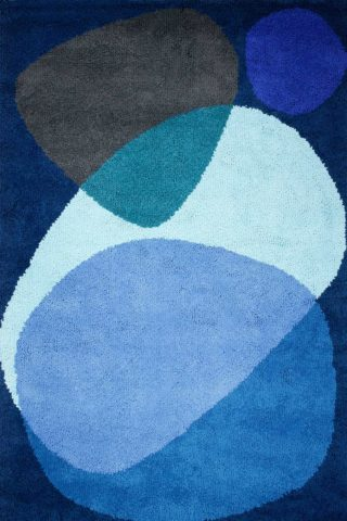 overhead of luna eclipse rug by dinosaur designs large blue shapes