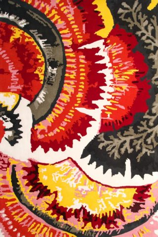 overhead of cosmic garden rug by easton pearson