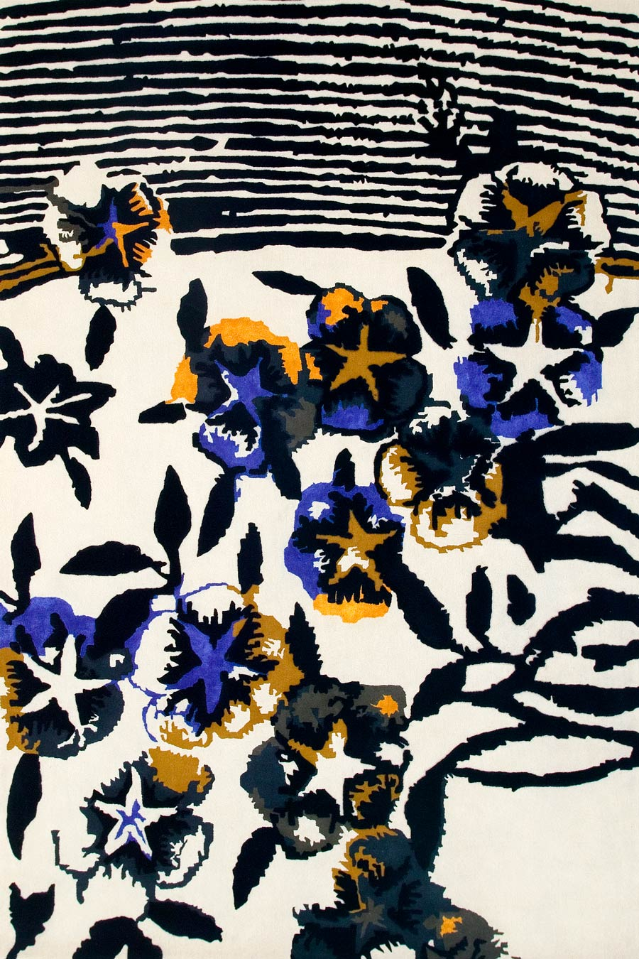 overhead of flower pool rug by easton pearson abstact floral