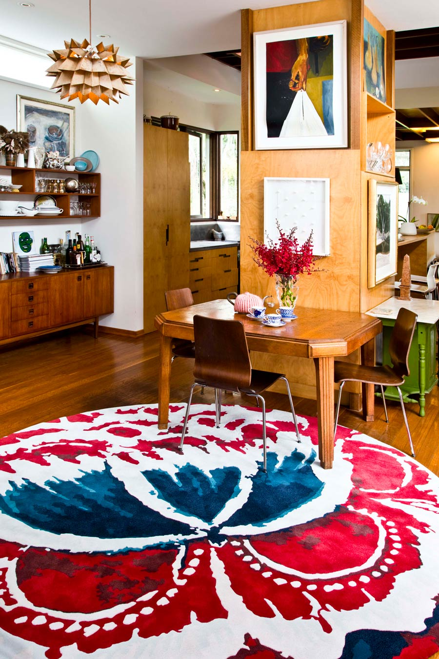 location shot of fontina round rug by easton pearson