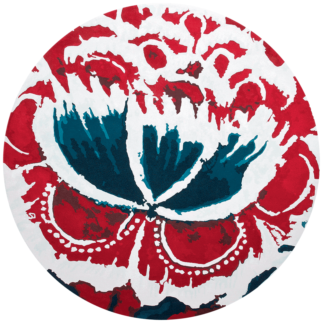 overhead of fontina round rug by easton pearson