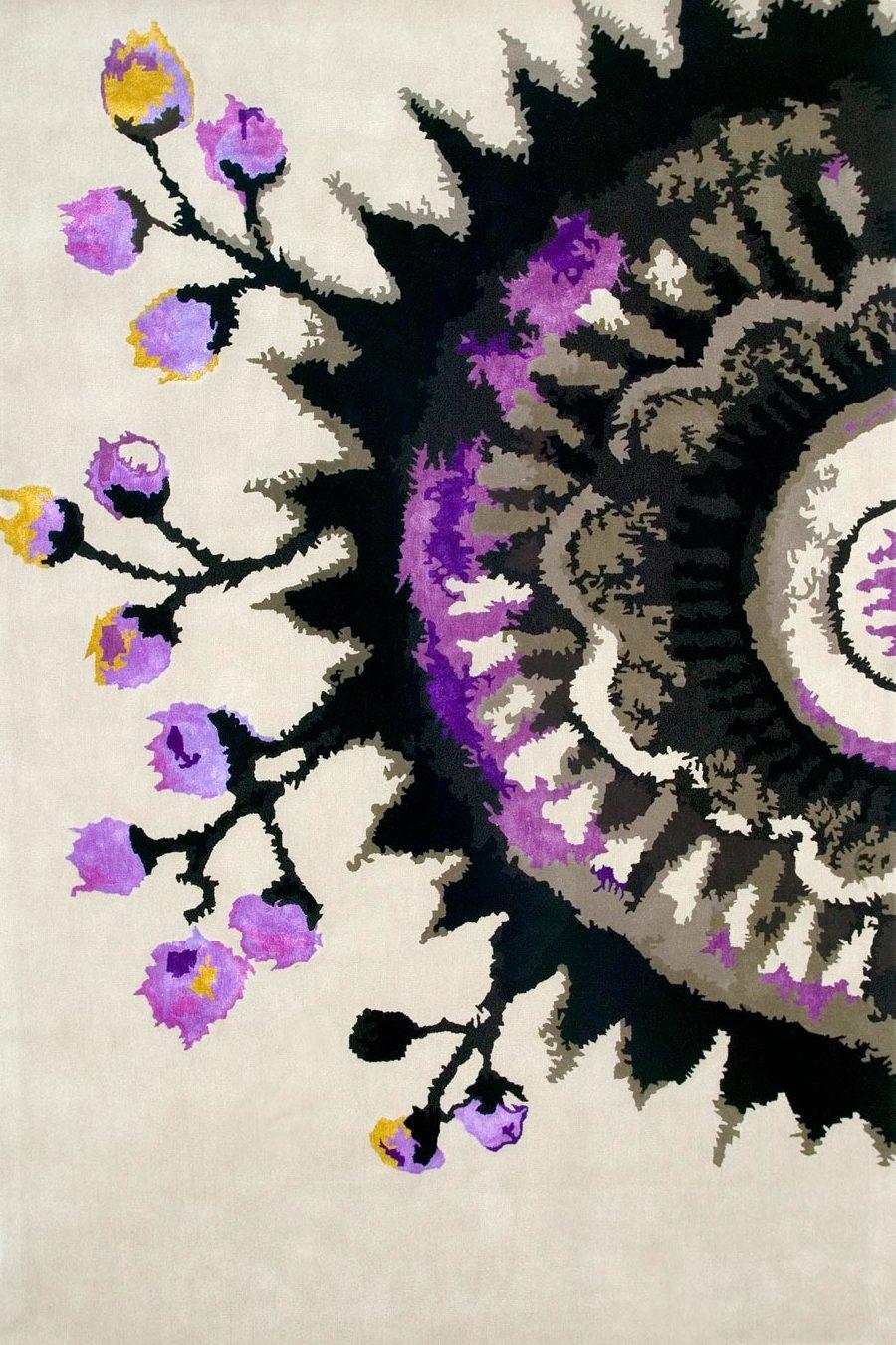 overhead of moon shadow rug by easton pearson